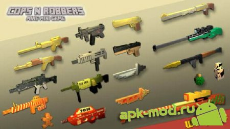 Cops N Robbers (FPS) - Minecraft Style Pixel Shooter and Multiplayer 1.7 Мод